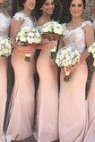 Vestido de dama de honor Natural Escote con Hombros caídos Cremallera Falta