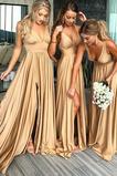Vestido de dama de honor largo Espalda Descubierta Natural Escote en V Apertura Frontal