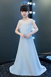 Vestido niña ceremonia Sin mangas Corpiño Acentuado con Perla Natural largo