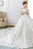 Vestido de novia Natural Capa de encaje Cola Real Satén Apliques Corte-A