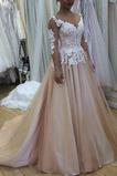 Vestido de novia Falta Sala Escote en V Apliques Espalda Descubierta
