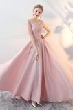 Vestido de fiesta Elegante Satén Natural Apliques Joya Corte-A