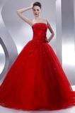 Vestido de quinceañeras Sin tirantes Rojo tul Invierno Cola Capilla Con lentejuelas