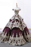 Vestido de novia Cordón Satén Natural Capa de encaje Otoño Manga tapada