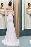 Vestido de novia Elegante Natural La mitad de manga Corte Sirena Falta