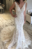 Vestido de novia Sencillo Natural Capa de encaje tul Baja escote en V