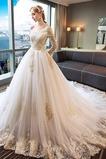 Vestido de novia Manga larga Cordón primavera largo Natural Corte-A