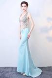 Vestido de fiesta Abalorio Corte Recto Transparente Espalda Descubierta
