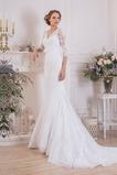 Vestido de novia Apliques largo Cremallera Encaje Sala Escote en V