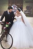 Vestido de novia Con velo Natural tul largo Cremallera Formal