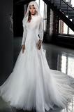 Vestido de novia Apliques Encaje primavera Natural Corte-A Con velo