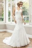 Vestido de novia primavera Iglesia Sin cintura Corte Sirena Encaje Escote en V