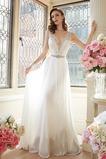 Vestido de novia Escote en V Natural Sin mangas Cristal Encaje Pura espalda