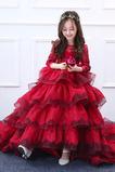 Vestido niña ceremonia Natural Capa Multi Borde-Festoneado Apliques Manga larga