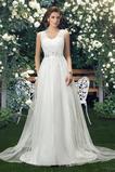 Vestido de novia Sin mangas tul Escote en V Falta Sencillo Corte-A