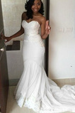 Vestido de novia Romántico Otoño Natural Encaje Transparente Corte Sirena