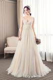 Vestido de novia Abalorio Hasta el suelo tul Capa de encaje Corte-A