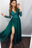 Vestido de fiesta Encaje Natural Hasta el Tobillo Corte-A Encaje Cremallera