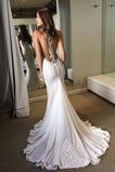 Vestido de novia Capa de encaje Pura espalda Sin mangas Playa Natural