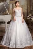 Vestido de novia Cordón Apliques Joya largo tul Natural