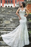 Vestido de novia Encaje Cola Capilla Natural Encaje Manga corta Escote Corazón