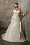 Vestido de novia Apliques Sin mangas Cola Capilla Escote Corazón Satén