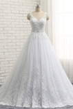 Vestido de novia Capa de encaje Espalda Descubierta Cinturón de cuentas