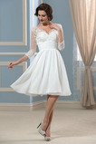 Vestido de novia Hasta la Rodilla Elegante Otoño Apliques Cremallera