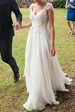 Vestido de novia Encaje Sencillo Gasa Espalda Descubierta Escote en V