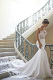 Vestido de novia Cremallera Escote de Tirantes Espaguetis Natural Triángulo Invertido