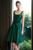 Vestido de dama de honor Corte-A Espalda medio descubierto Verano Rosetón Acentuado