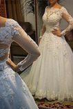 Vestido de novia Playa Manga larga Reloj de Arena Formal Corpiño Acentuado con Perla