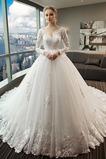 Vestido de novia Capa de encaje Baja escote en V Apliques Formal Corte-A