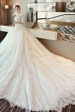 Vestido de novia primavera Cola Catedral Natural Cordón Apliques Mangas Illusion