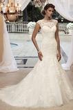 Vestido de novia Corte Sirena Cremallera Natural Barco Encaje Cola Capilla