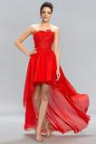 Vestido de fiesta primavera Asimétrico Dobladillo Sin tirantes Triángulo Invertido