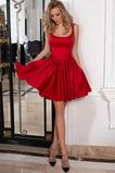 Vestido de cóctel Arco Acentuado Satén Espalda Descubierta Verano Escote redondo