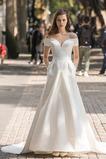 Vestido de novia Falta Cordón Escote con Hombros caídos Bolsillos Camiseta