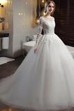 Vestido de novia Falta Fuera de casa Natural Cremallera Mangas Illusion