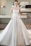 Vestido de novia Iglesia Cola Real primavera Capa de encaje Escote con Hombros caídos