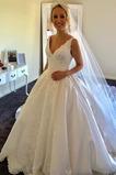 Vestido de novia Espalda Descubierta Capa de encaje Escote en V Encaje