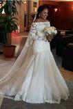 Vestido de novia Mangas Illusion Natural largo Capa de encaje Escote con Hombros caídos