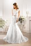 Vestido de novia Natural largo Encaje Sala Apliques Cinturón de cuentas