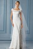 Vestido de novia Alto cubierto primavera Natural Encaje Corte Recto