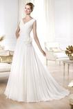 Vestido de novia Playa largo Modesto Gasa Flores Cintura Baja