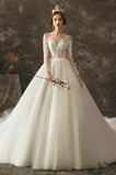 Vestido de novia Abalorio Mangas Illusion Formal Cola Catedral Cordón