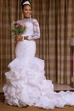 Vestido de novia vendimia Botón Verano Mangas Illusion Corte Sirena