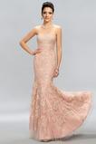 Vestido de noche Elegante Cremallera Encaje Corte-A Sin tirantes Natural