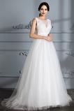 Vestido de novia Falta Cola Barriba Natural Barco tul Corte-A