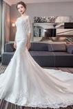 Vestido de novia Corte Sirena Espalda Descubierta Elegante Playa Capa de encaje